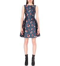Moandco. Heart Lightning Bolt Print Satin Dress Red Blue Pattern