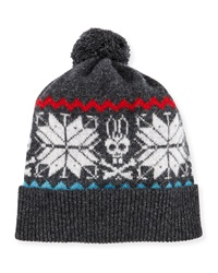 Psycho Bunny Highland Snowflake Bunny Pompom Hat Charcoal Silver