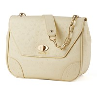 Bijouxx Jewels Ostrich Embossed Leather Handbag Beige