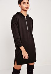 Missguided Zip Front Hooded Jumper Dress Black