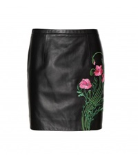 Christopher Kane Embroidered Leather Miniskirt Black