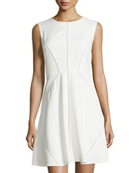 Neiman Marcus Crochet Trim Sleeveless Fit And Flare Dress Off White
