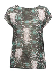 Label Lab Scale Digi Print Waterfall Back Top Multi Coloured