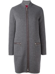 Moncler Gamme Rouge Contrast Fastening Padded Coat Grey