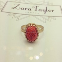 Zt Vintage Coral Matrix Scarab Ring Sterling Silver