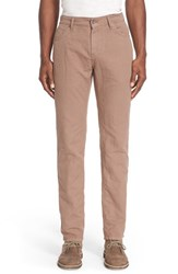 Men's Eidos Napoli Cotton And Linen Slim Straight Leg Pants Brown