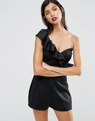 Asos Scuba One Shoulder Ruffle Playsuit Black