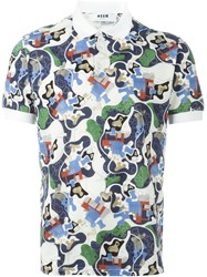 Msgm Abstract Print Polo Shirt Multicolour