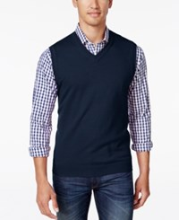 Club Room Men's Big And Tall Heartland V Neck Sweater Vest Navy Blue