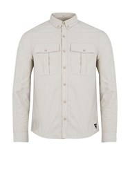 Realm And Empire Cotton Relaxed Fit Long Sleeve Shirt Stone