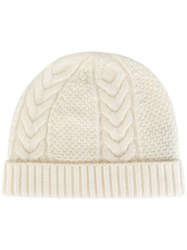 N.Peal Cable Knit Beanie White