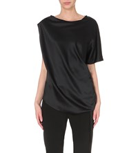 Ann Demeulemeester Asymmetric Stretch Silk Top Black