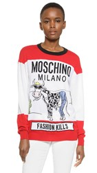 Moschino Fashion Kills Long Sleeve Top White Multi