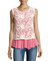 Alberto Makali Embroidered Lace Sleeveless Blouse Neon Pink