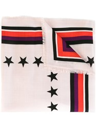 Givenchy '17' Print Scarf Pink And Purple