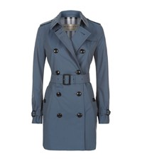 Burberry The Kensington Mid Length Heritage Trench Coat Female Blue