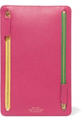 Smythson Panama Textured Leather Wallet Fuchsia