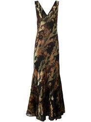 Etro Embroidered V Neck Gown Black