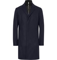 Theory Delancey Convertible Wool Blend Overcoat Navy