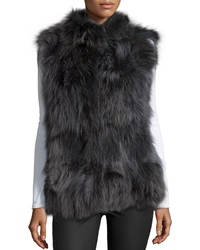 Pologeorgis Coyote Fur Patchwork Stand Collar Vest Graphite