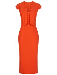 Antonio Berardi Orange Wool Scallop Cap Sleeved Dress