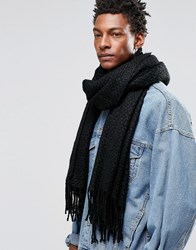 Asos Blanket Scarf In Black With Texture Black