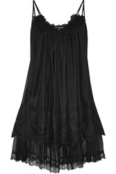 Dolce And Gabbana Appliqued Silk Blend Organza Chemise Black