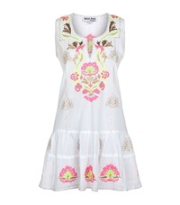 Juliet Dunn Embroidered Drop Waist Sleeveless Dress Female Multi