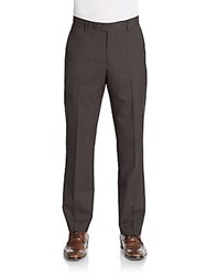 Saks Fifth Avenue Regular Fit Wool Trousers Brown