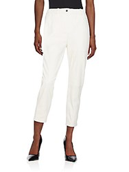 Yigal Azrouel Textured Leather Cropped Pants White