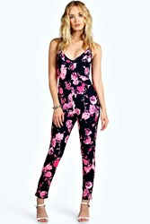 Boohoo Strappy Stretch Crepe Floral Jumpsuit Pink