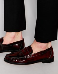 Kg By Kurt Geiger Penny Loafer In Wine Red Leather Red