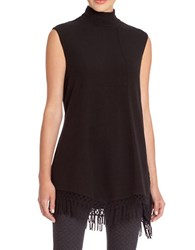 Nic Zoe Fringed Sleeveless Turtleneck Sweater Black