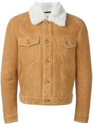 Marc Jacobs Shearling Aviator Jacket Nude And Neutrals