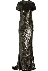 Lanvin Paillette Embellished Tulle Gown Metallic