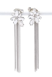Forever 21 Chained Rhinestone Drop Earrings Silver Clear