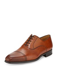 Magnanni For Neiman Marcus Wolden Lace Up Leather Oxford Cognac Red