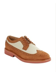 Polo Ralph Lauren Torrington Leather And Linen Wingtip Oxfords Brown