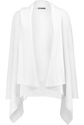 Vince Draped Ribbed Knit Cotton Cardigan White