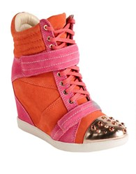 Boutique 9 Nevan Suede Wedge Sneakers Pink