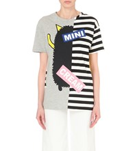 Mini Cream Patch And Stripe Cotton Jersey T Shirt Gy2