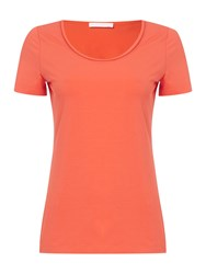 Hugo Boss Ejona Satin Neckline Jersey Tee Red
