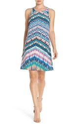 Charlie Jade Women's Strappy Back Print Silk A Line Dress