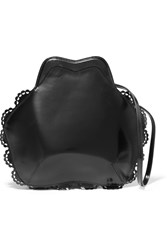 Simone Rocha Scalloped Glossed Leather Shoulder Bag Black