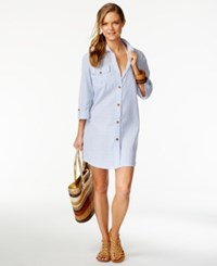 Dotti Long Sleeve Striped Cover Up Women's Swimsuit Blue White