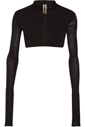 Rick Owens Cropped Paneled Cotton Cardigan Black
