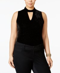 Mblm By Tess Holliday Trendy Plus Size Glitter Bodysuit Black