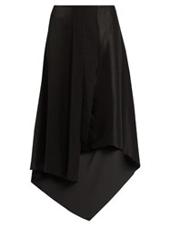 Elizabeth And James Sydney Asymmetric Hem Silk Satin Skirt Black