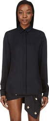 Anthony Vaccarello Deep Navy Twill Blouse
