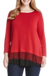 Karen Kane Plus Size Women's Lace Peplum Pullover Red